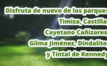 Disfruta de nuevo de los parques Timiza, Castilla, Cayetano Cañizares, Gilma Jiménez, Dindalito, y Tintal de Kennedy