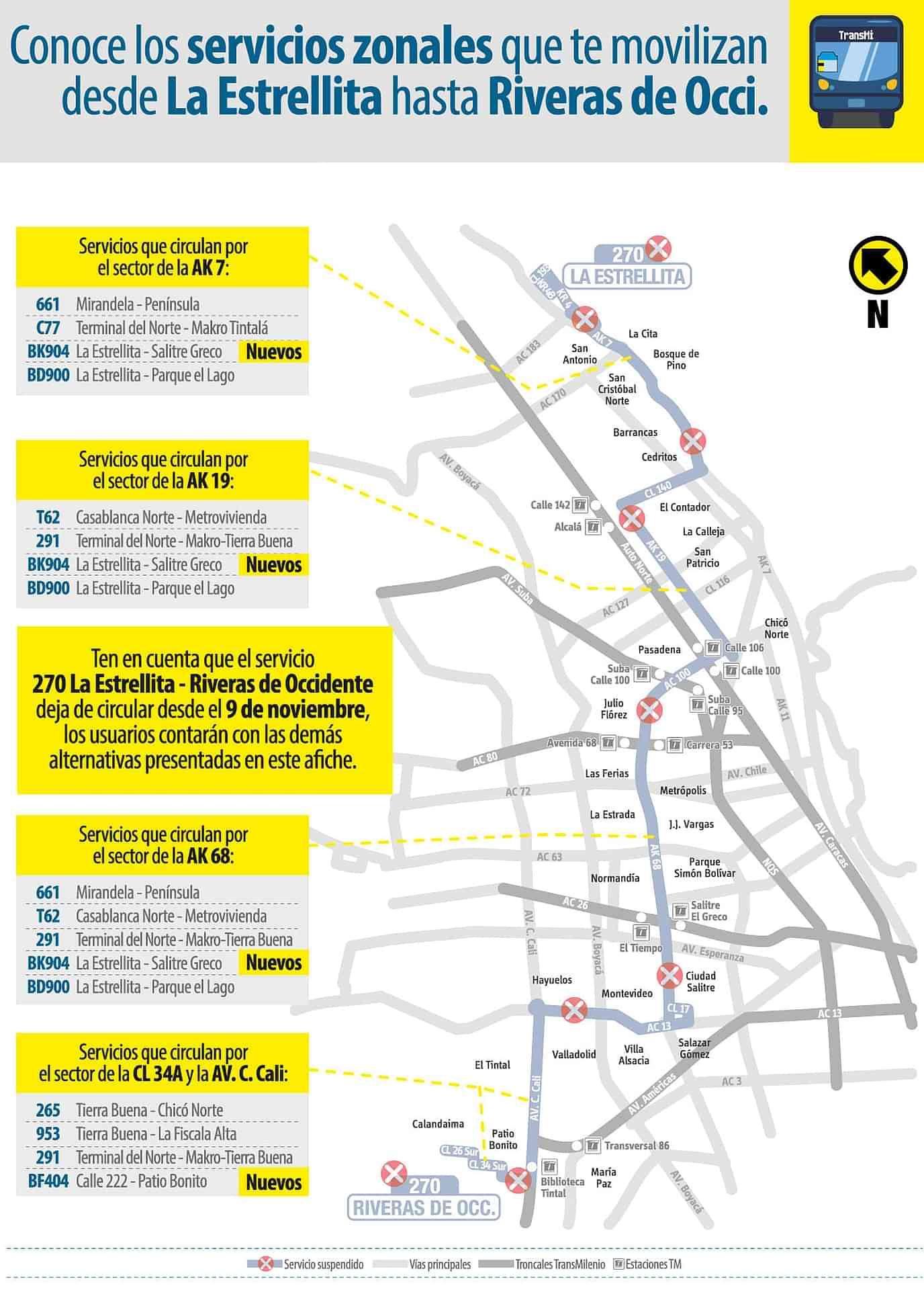 Alternativas a la ruta urbana Ruta SITP: 270 La Estrellita - Riveras de Occidente (eliminada)