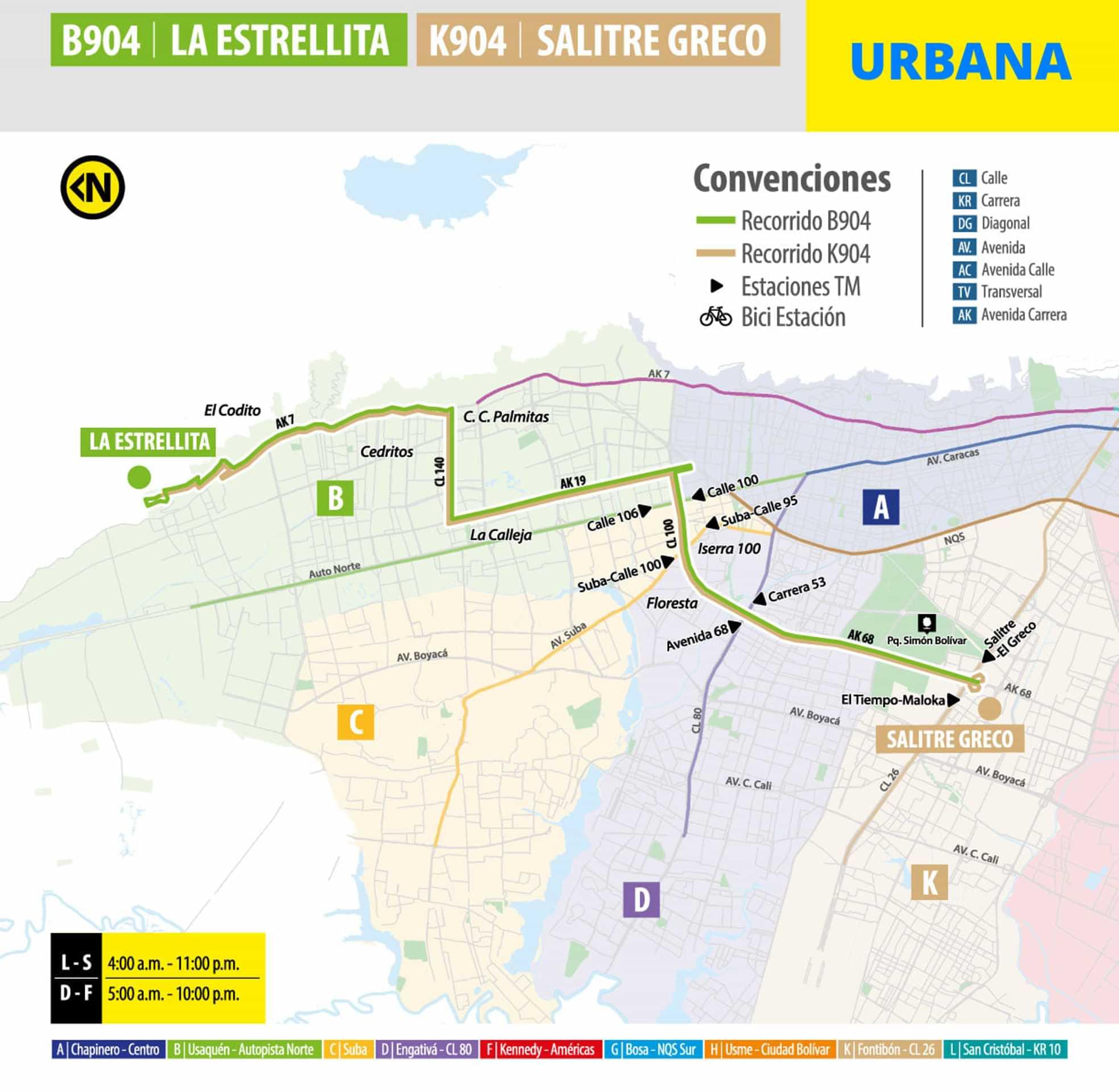 Ruta SITP: B904 - K904: La Estrellita - Salitre Greco (urbana)
