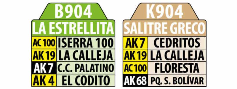 Tablas Ruta SITP: B904 - K904: La Estrellita - Salitre Greco (urbana)