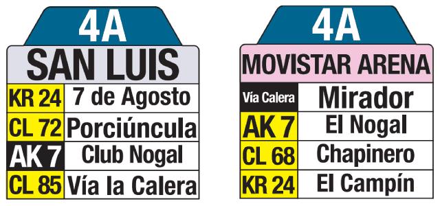 4A tablas de ruta bus Bogotá, con destino San Luis y Movistar Arena (Campín)