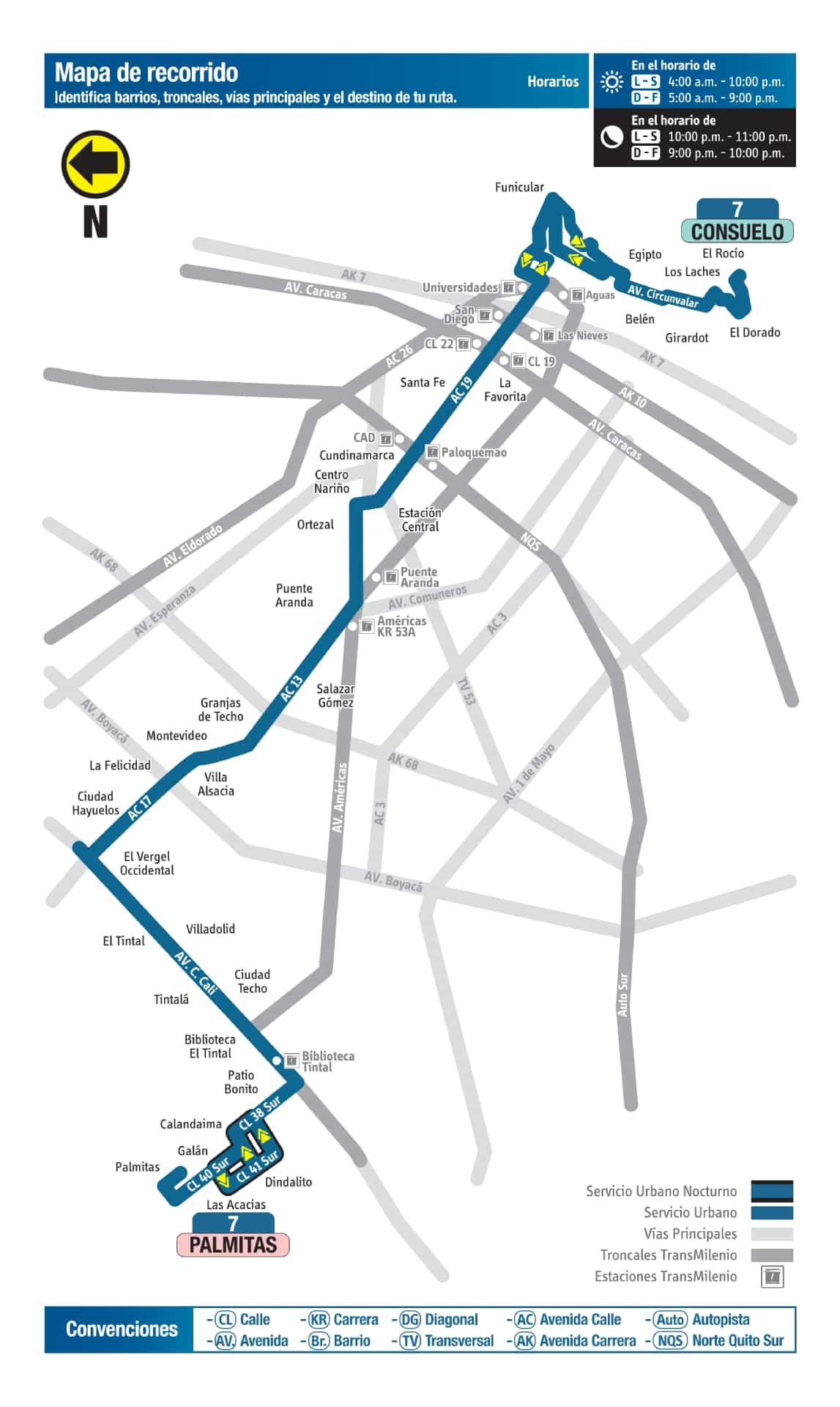 7 Palmitas - Consuelo, mapa ruta bus urbano