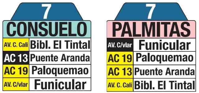 7 Palmitas - Consuelo, tablas ruta bus urbano