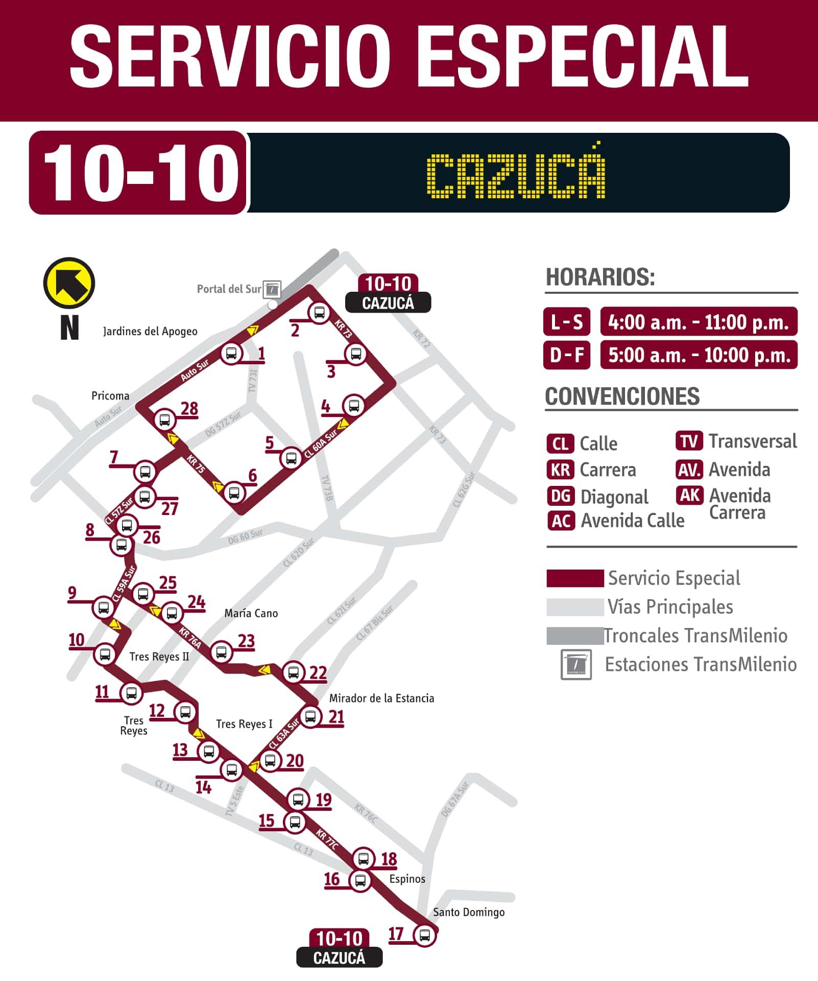 Ruta SITP: 10-10 Cazucá especial