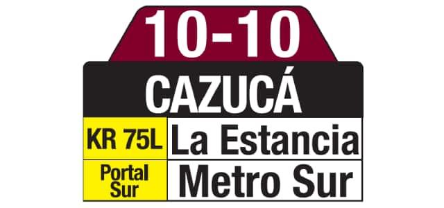 Tablas ruta SITP: 10-10 Cazucá especial
