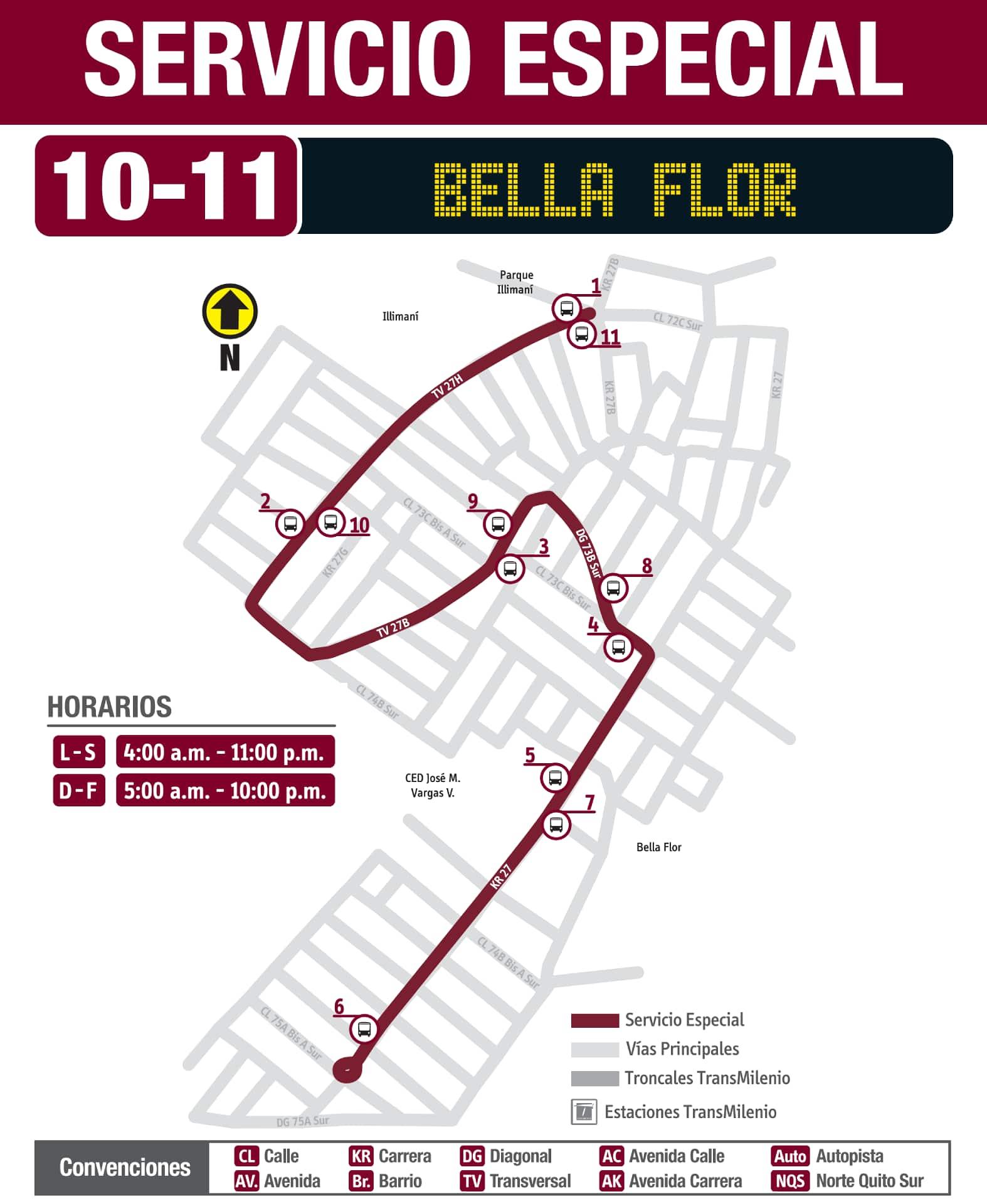 10-11 Bella Flor, ruta especial SITP