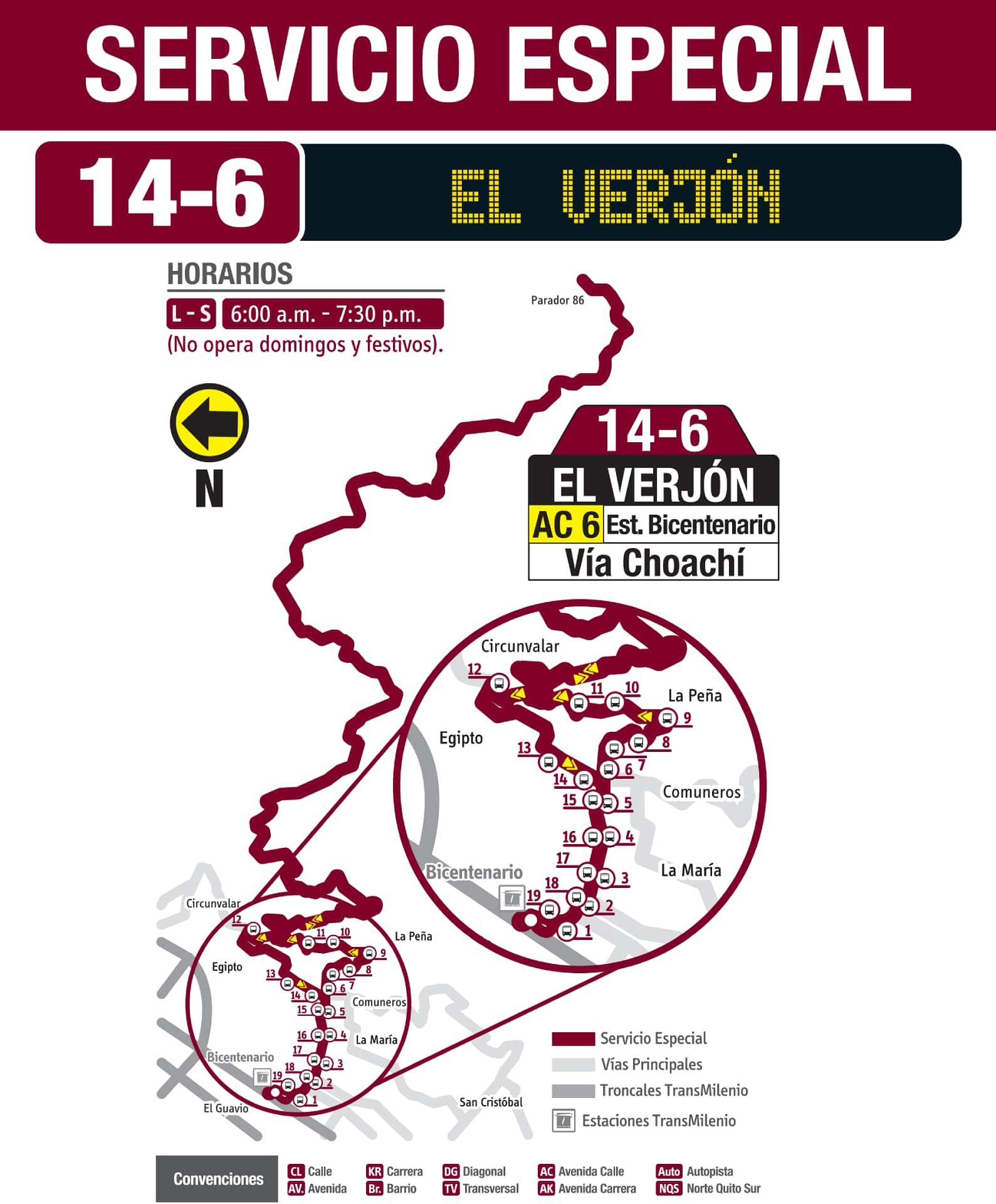 Ruta SITP 14-6 El Verjón, especial