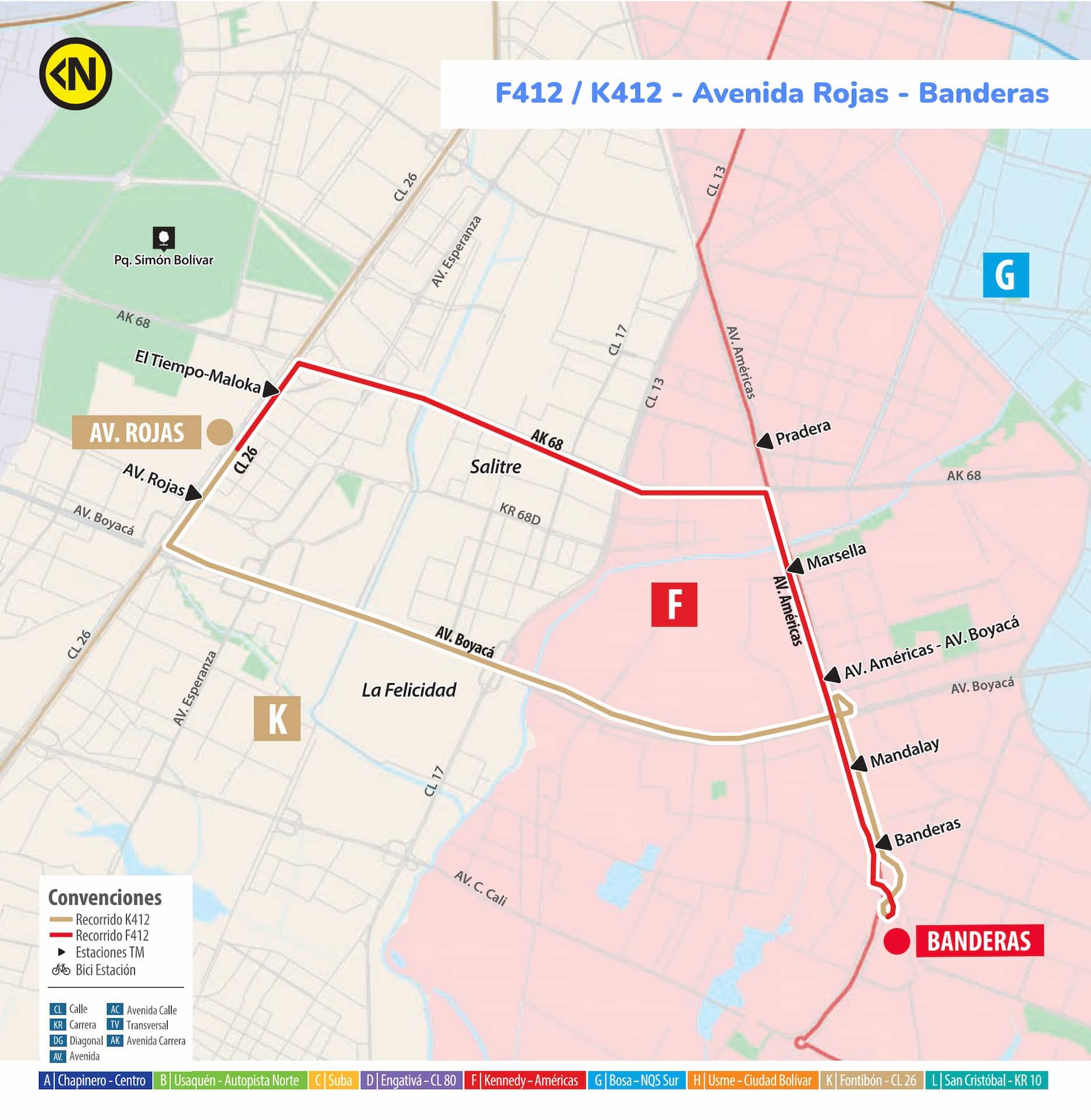 Mapa Ruta SITP F412-K412 - Avenida Rojas - Banderas, Urbana
