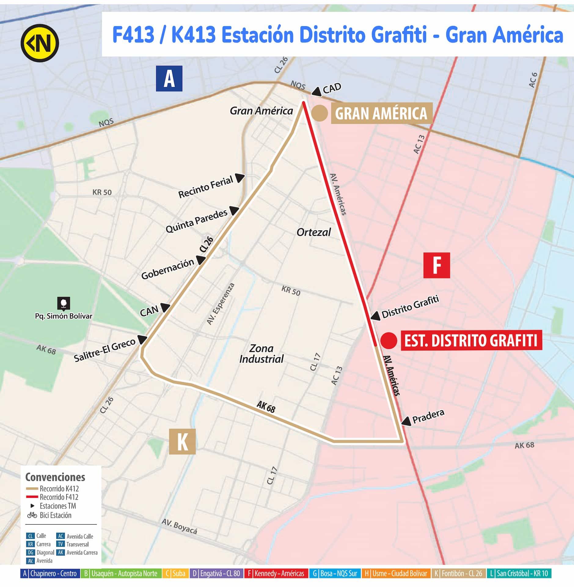 Ruta SITP F413 - K413 - Estación Distrito Grafiti - Gran América, urbana