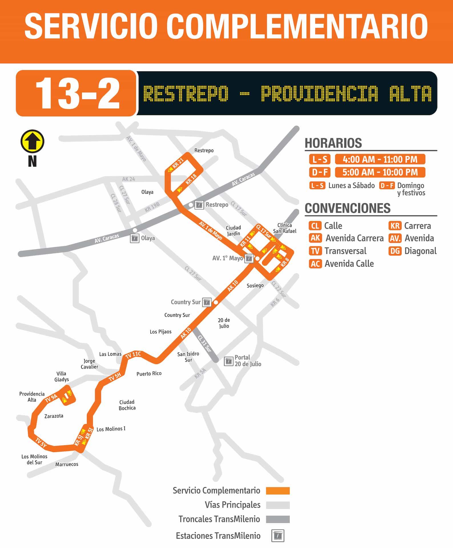 Ruta bus SITP 13-2 Providencia Alta - Restrepo