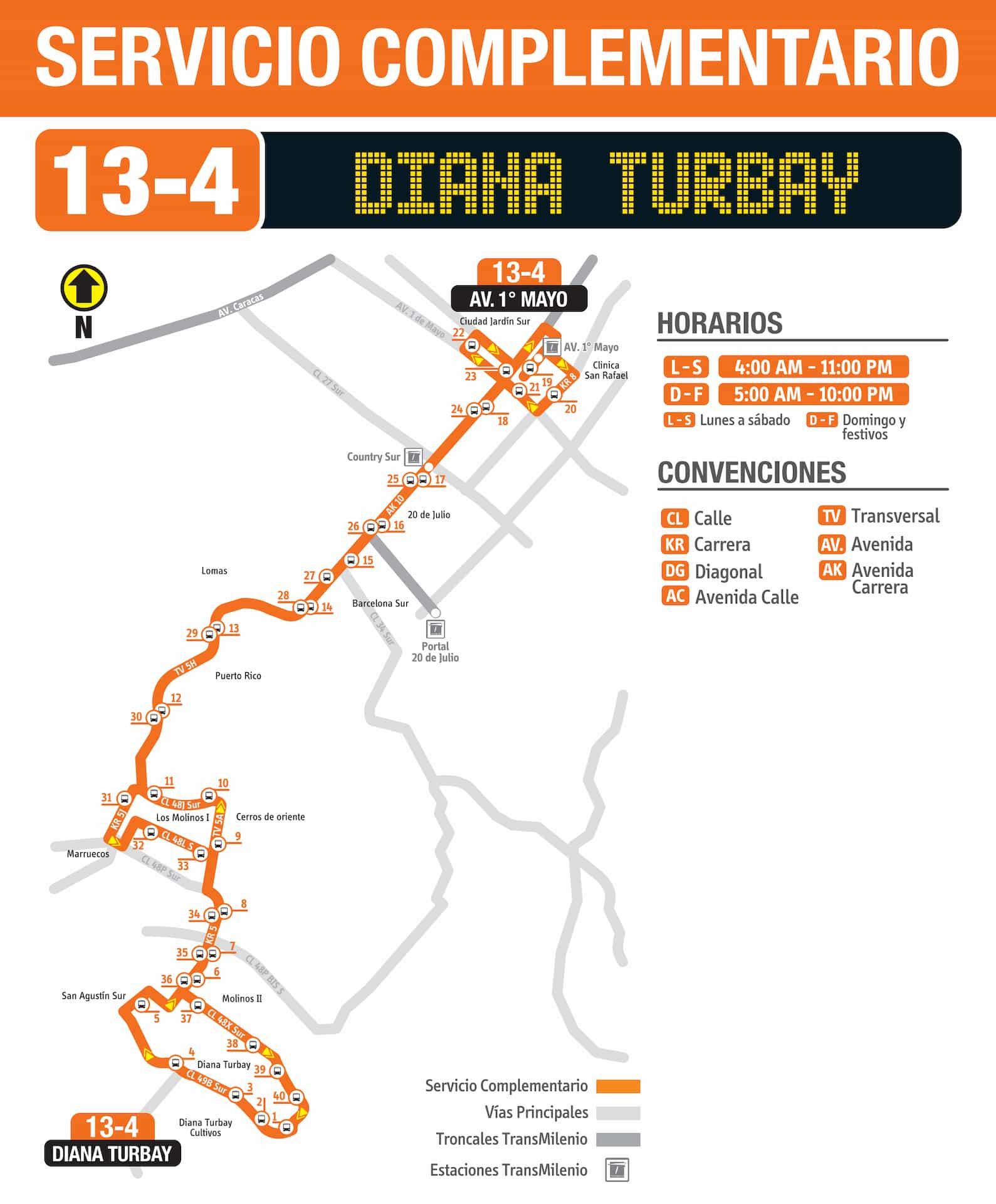 Ruta SITP 13-4 Diana Turbay - Avenida 1° de Mayo