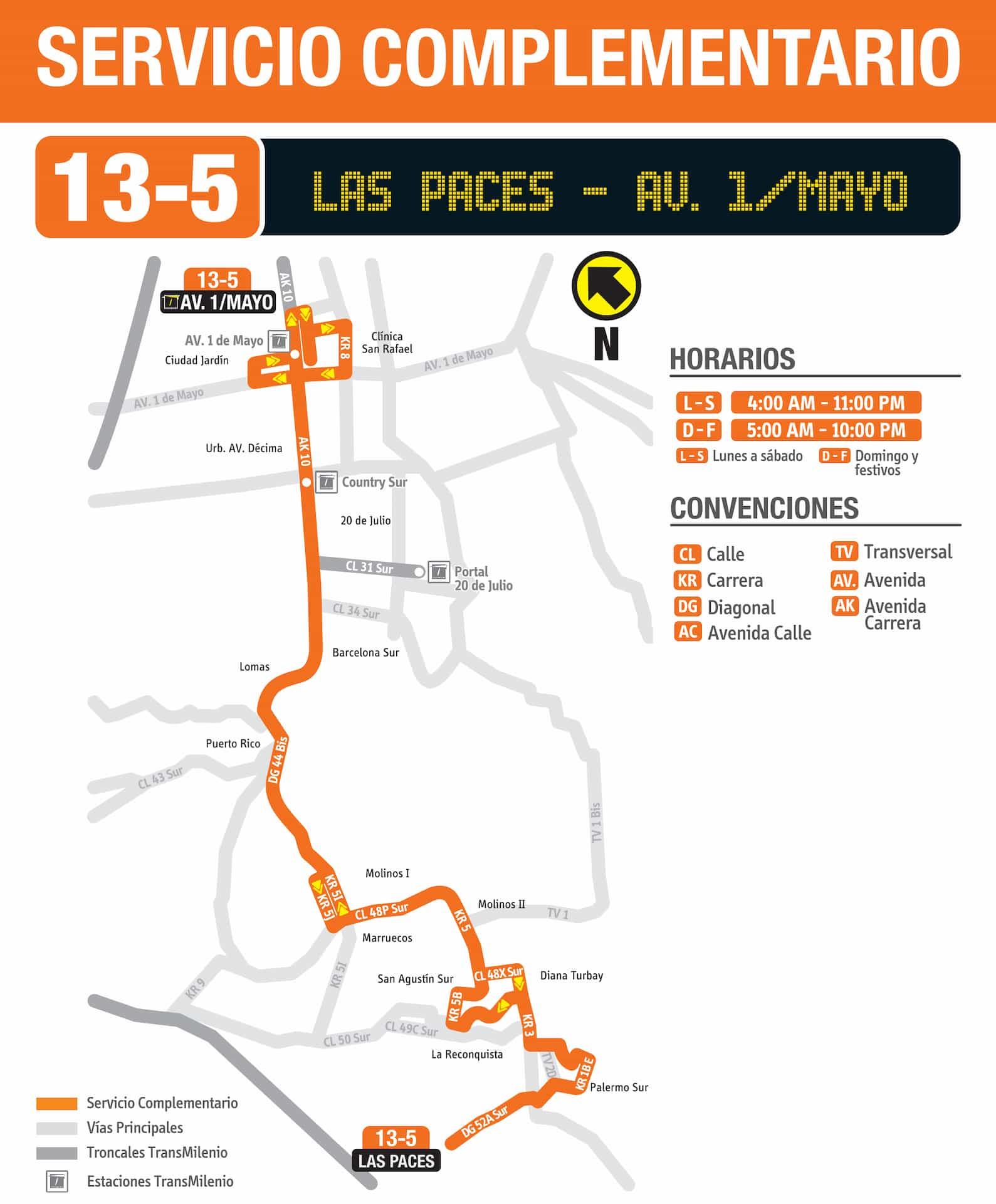 13-5 Las Paces - Avenida 1 Mayo (ruta complementaria - SITP)
