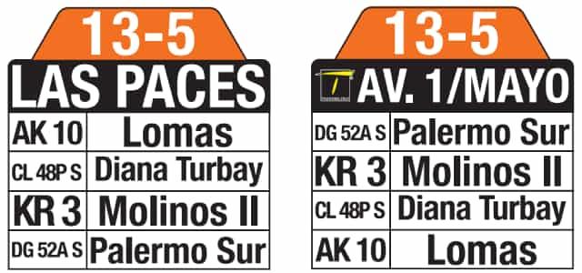 Tablas 13-5 Las Paces - Avenida 1 Mayo (ruta complementaria - SITP)