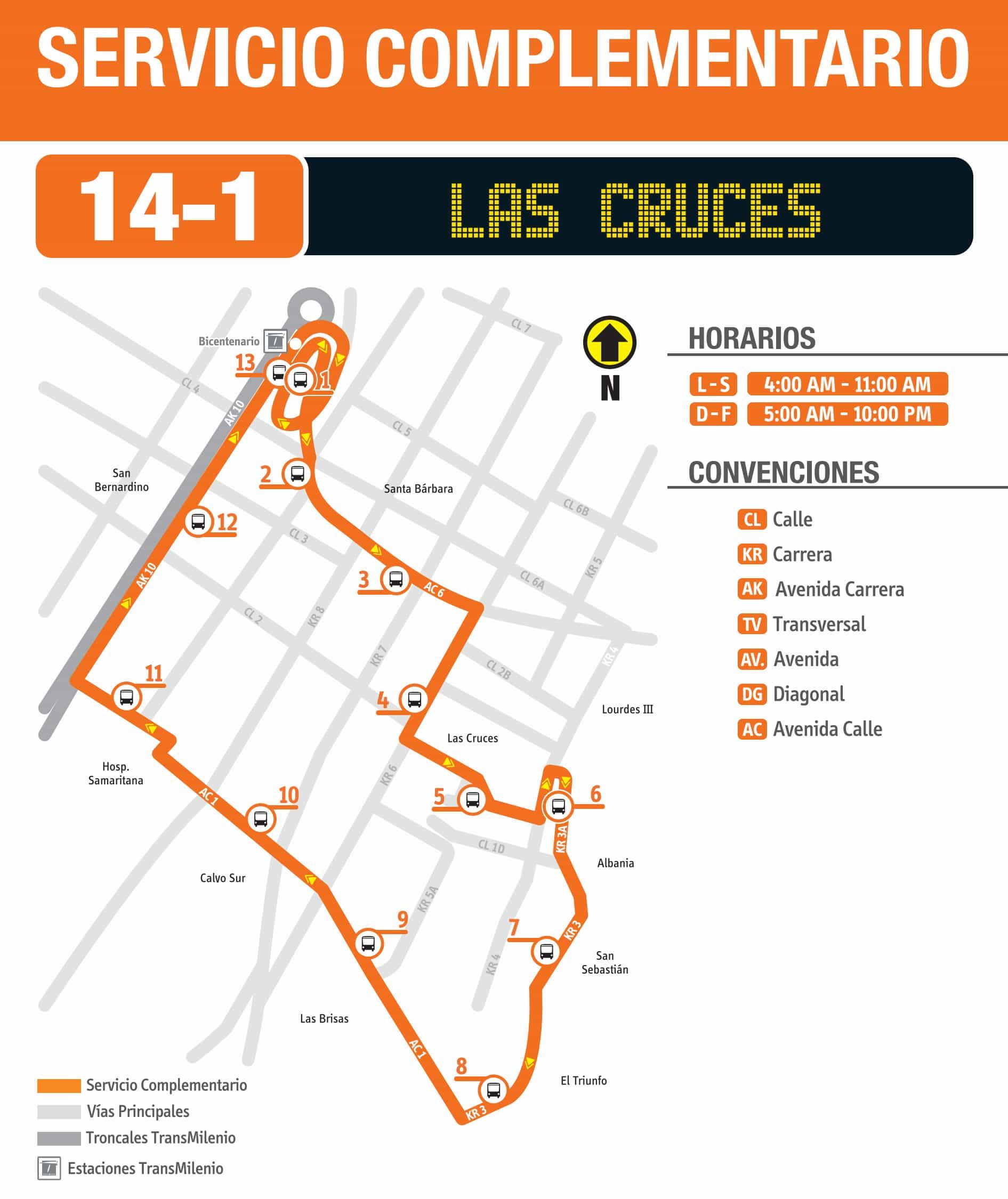 14-1 Las Cruces (ruta complementaria - SITP)