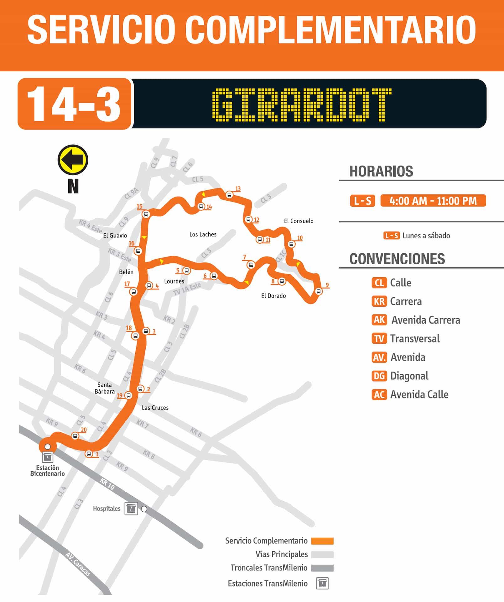 14-3 Girardot (ruta complementaria - SITP)