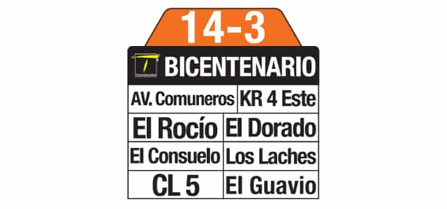 Tablas 14-3 Girardot (ruta complementaria - SITP)