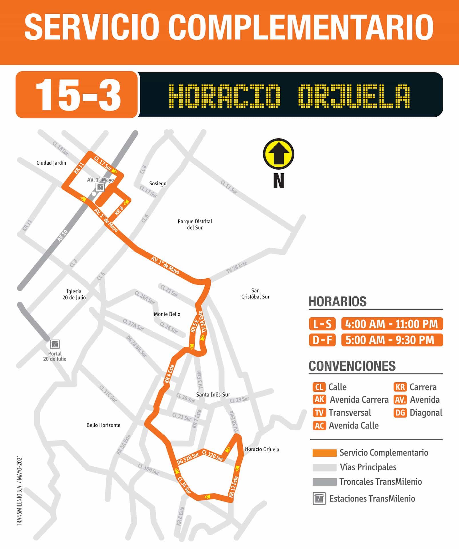 15-3 Horacio Orjuela (ruta complementaria - SITP)