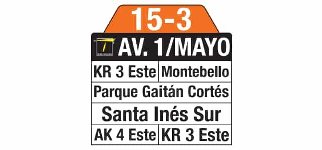 Tablas 15-3 Horacio Orjuela (ruta complementaria - SITP)