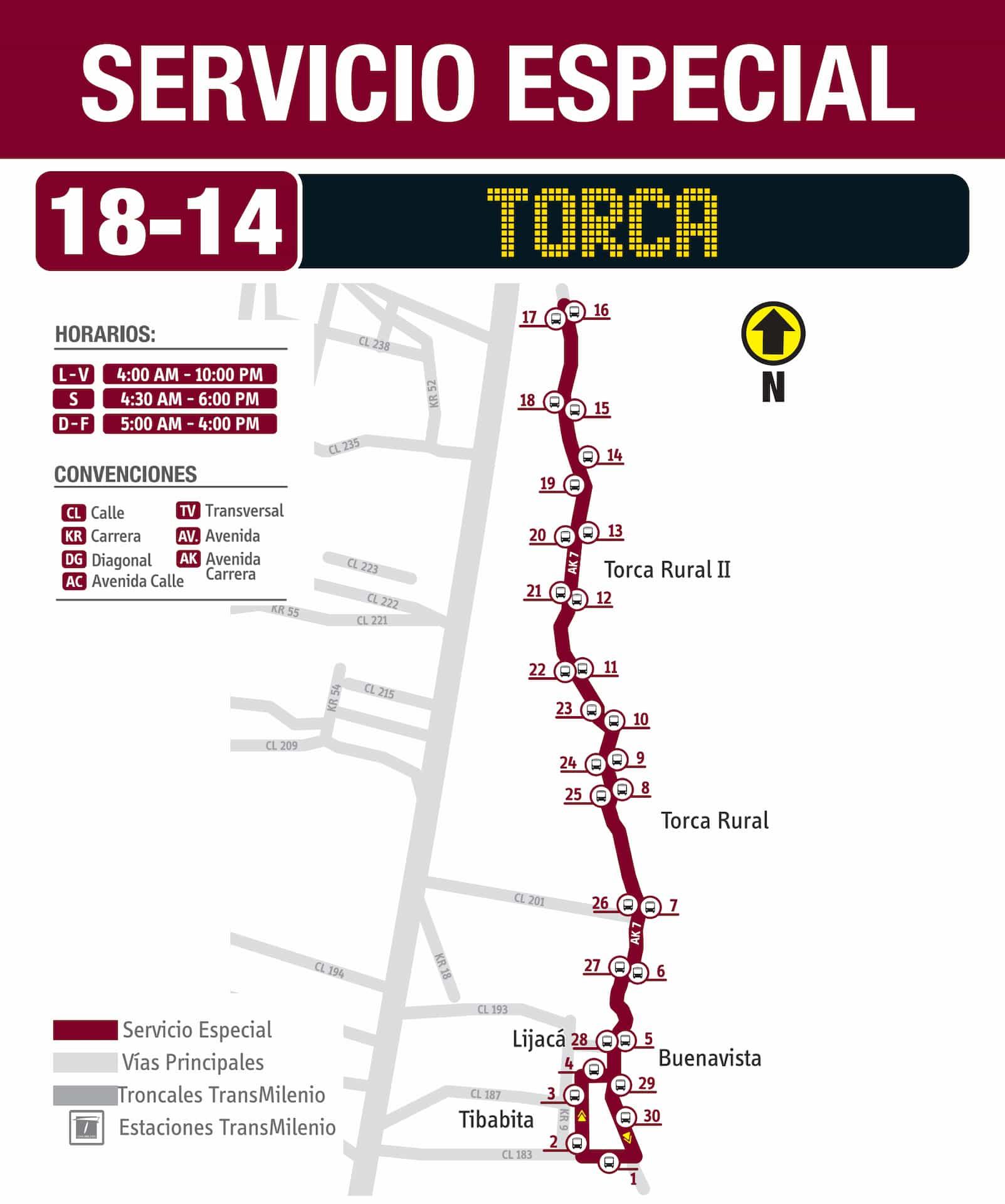 Mapa ruta 18-14 Torca, especial, SITP