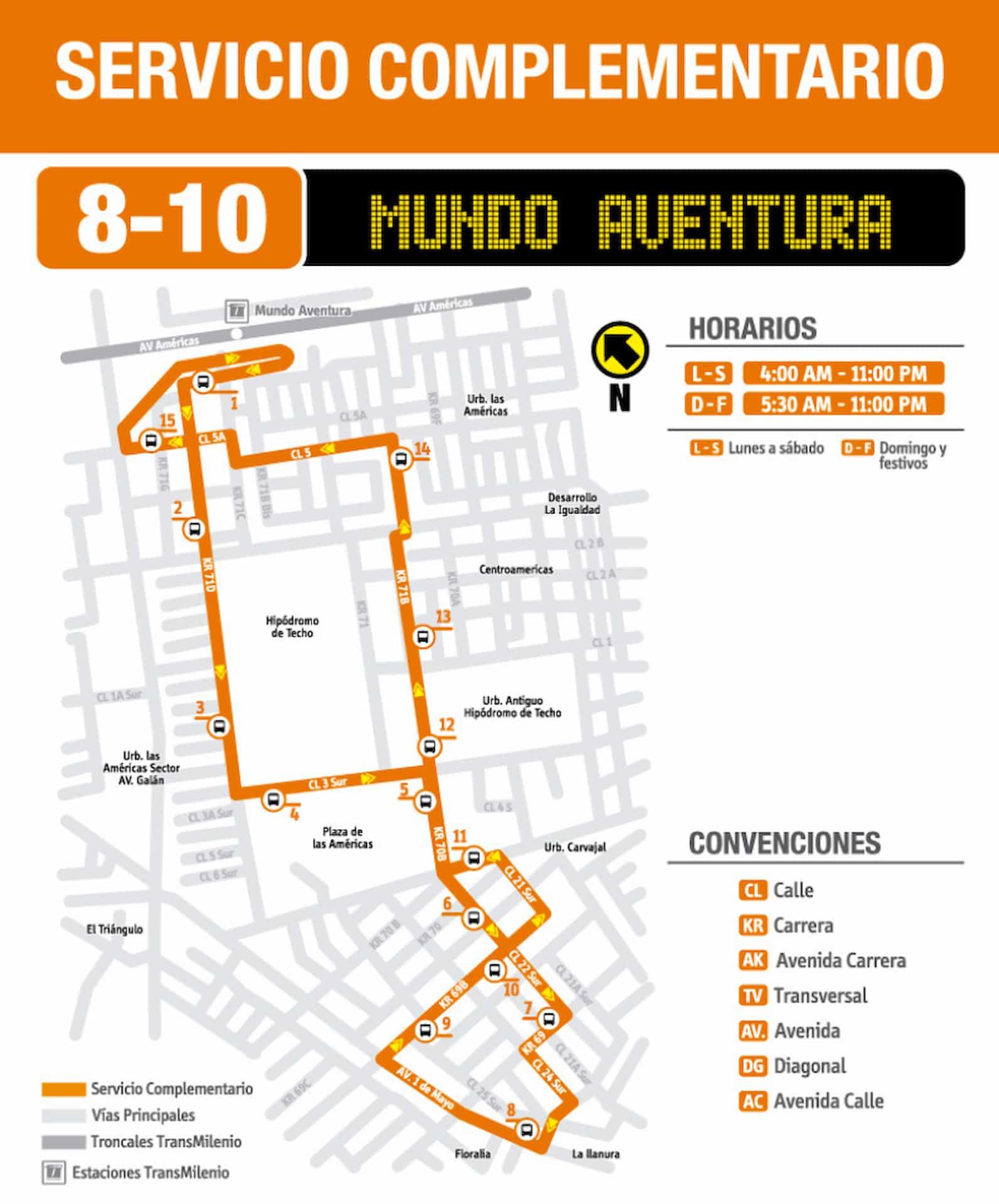 Ruta SITP: 8-10 Mundo Aventura, complementaria del SITP