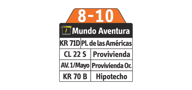 Ruta SITP: 8-10 Mundo Aventura, tipo complementaria
