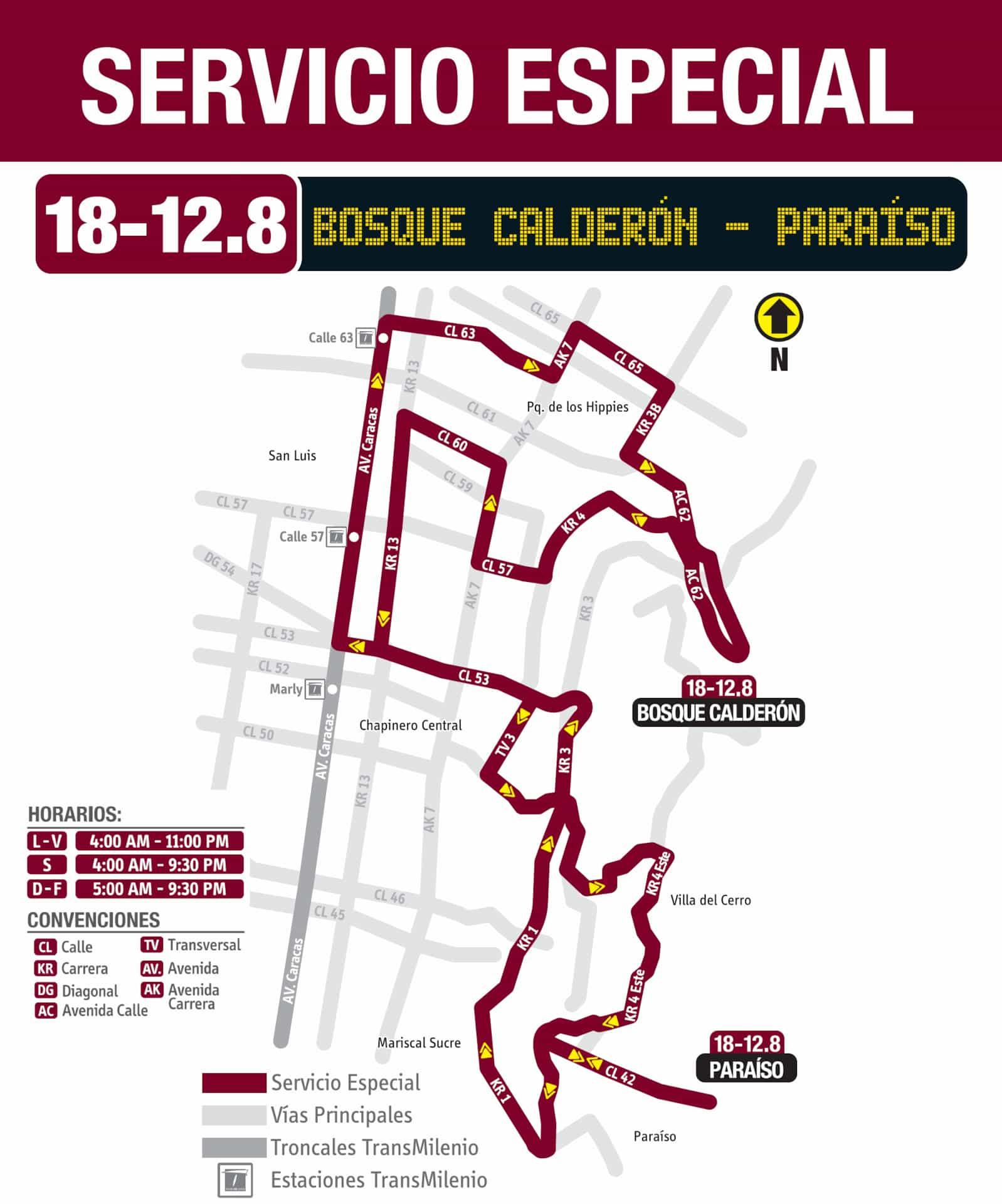 18-12.8 Bosque Calderón - Paraíso, ruta especial, Bogotá, Colombia