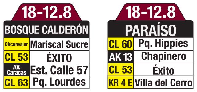 Tablas y ruteros ruta 18-12.8 Bosque Calderón - Paraíso, ruta especial, Bogotá, Colombia