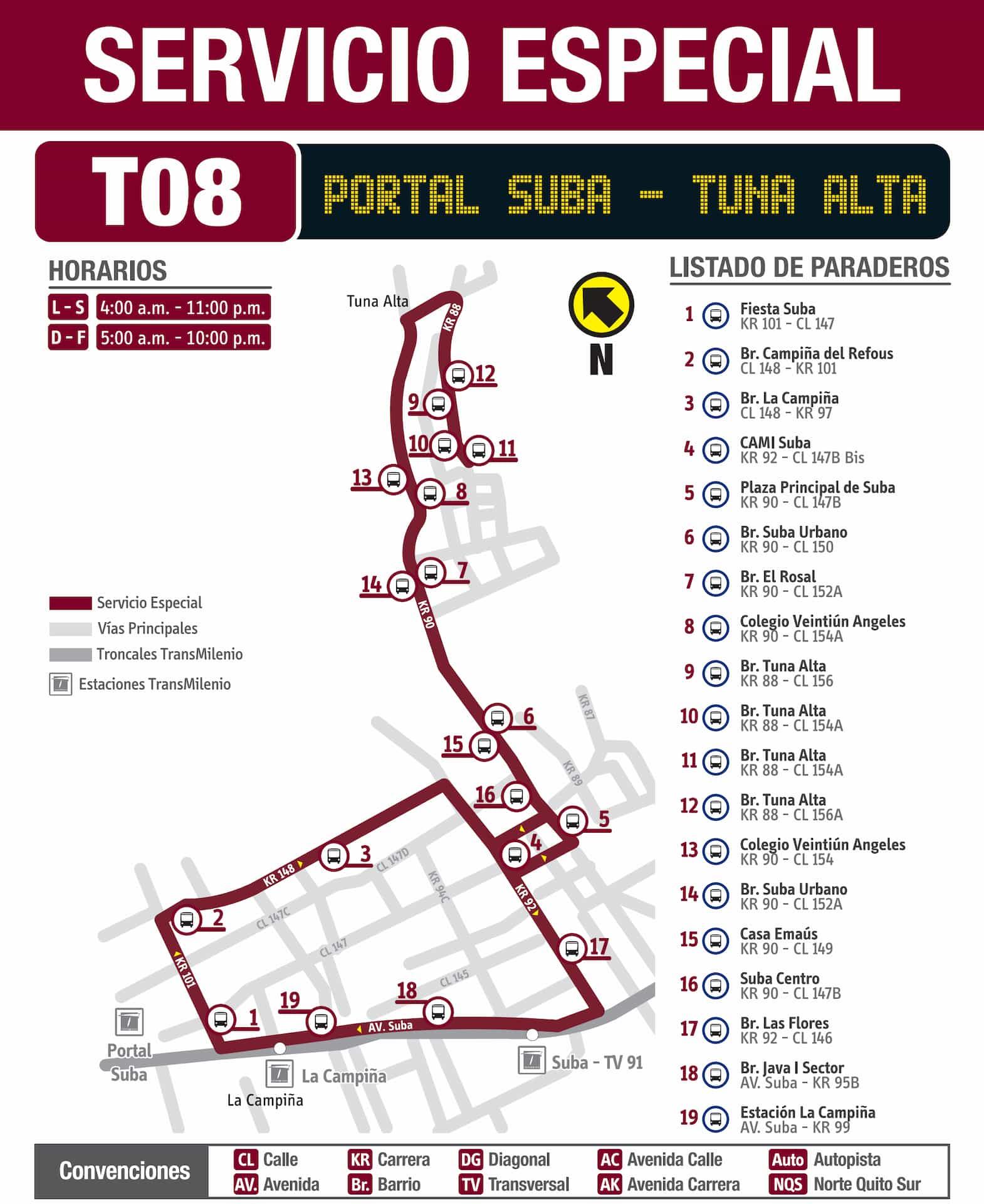 Ruta SITP denominada T08 Portal Suba - Tuna Alta, especial