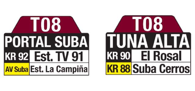 Tablas ruta T08 Portal Suba - Tuna Alta, especial