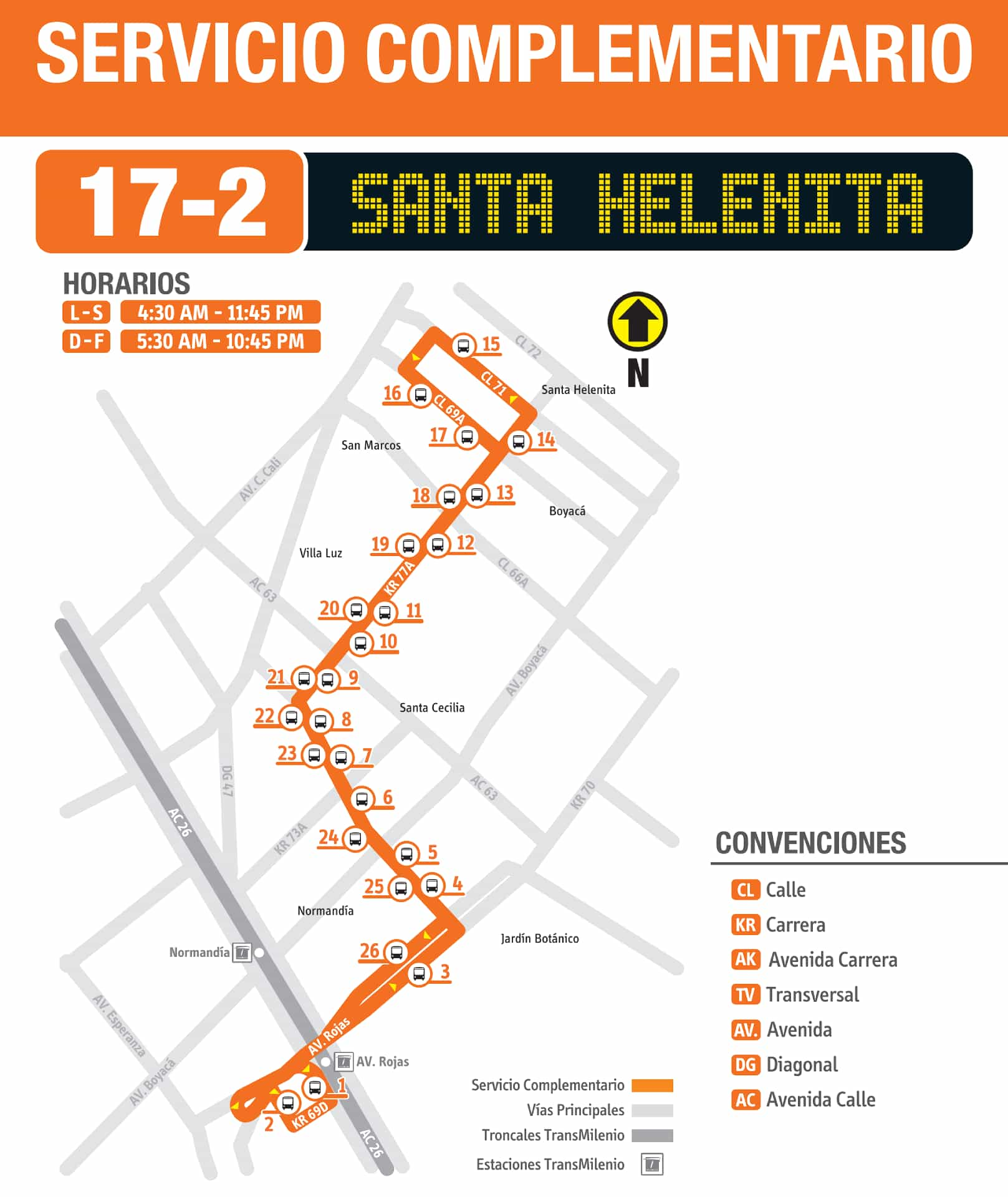Mapa Ruta SITP 17-2 Santa Helenita, complementaria