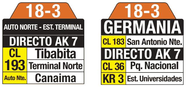 Tablas y rutero ruta bus 18-3 Ruta AutoNorte, estación Terminal - Germania