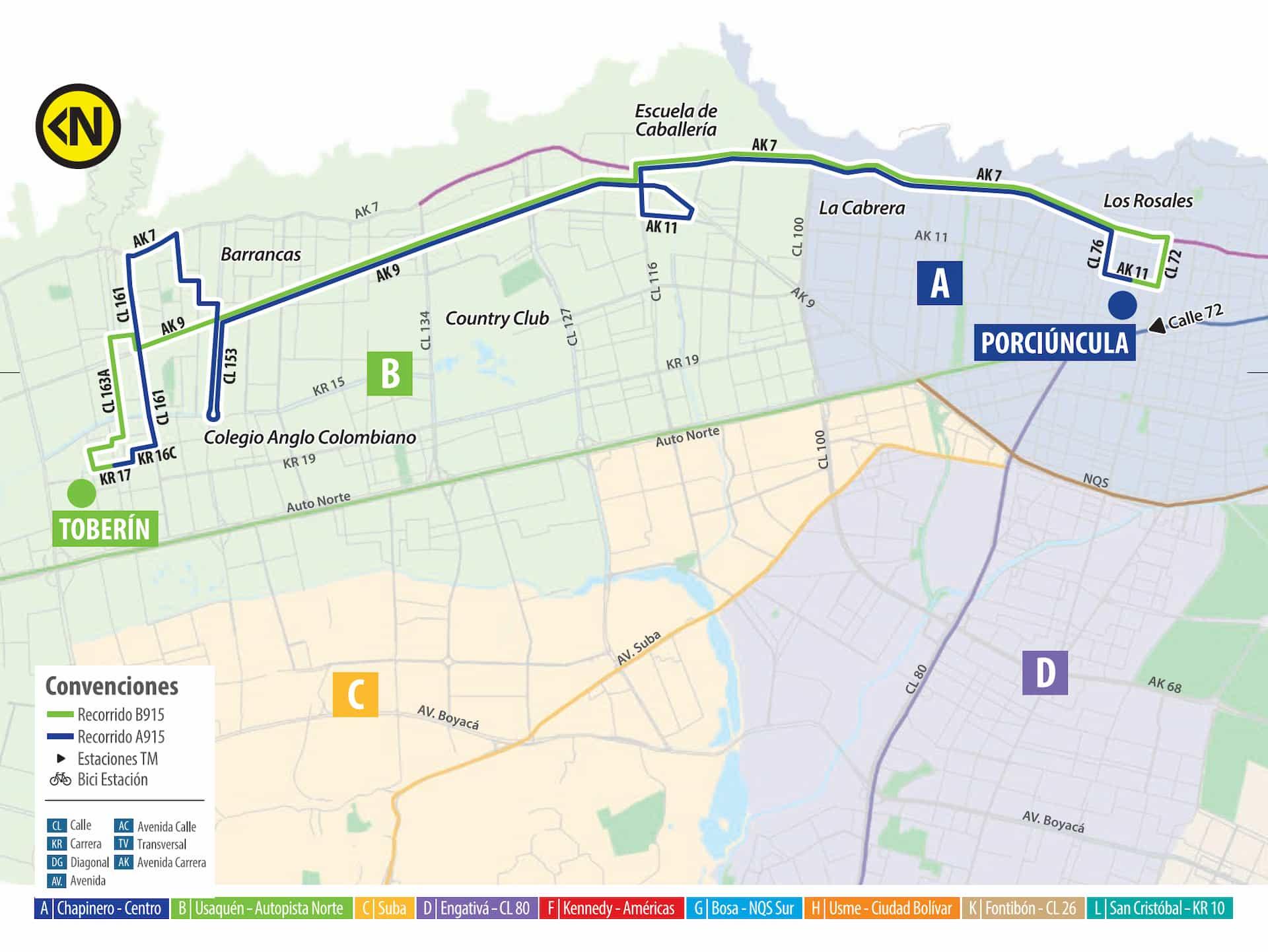 Mapa ruta SITP A915 Porciúncula - B915 Toberín, urbana