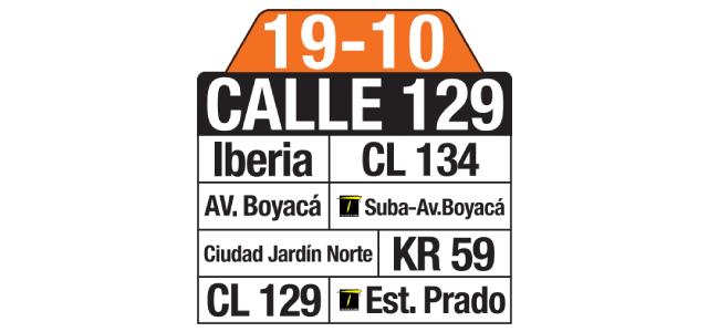 Tablas y ruteros ruta 19-10 Calle 129 (complementaria SITP)