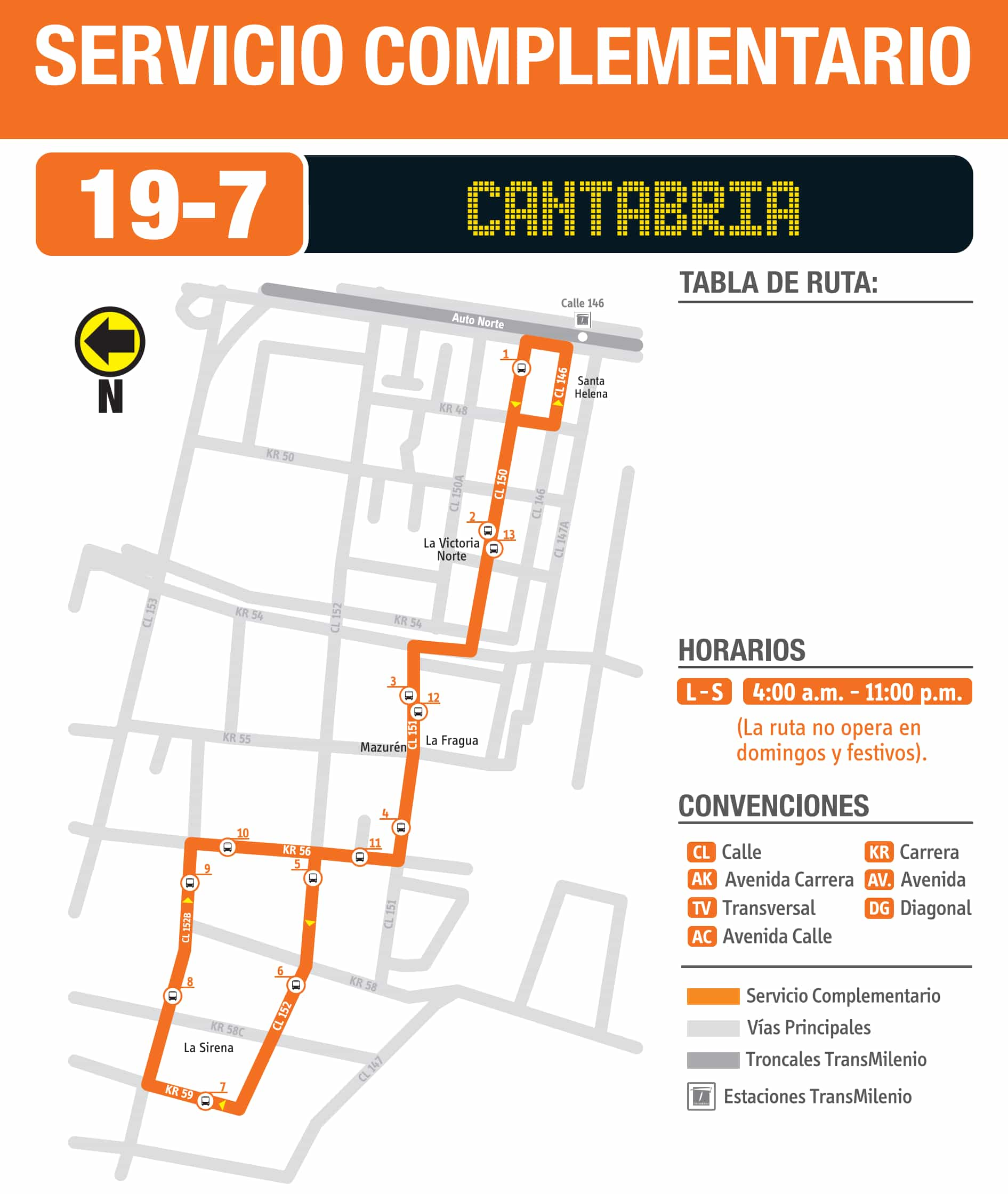 Mapa de la Ruta SITP 19-7 Estación Calle 146, complementaria
