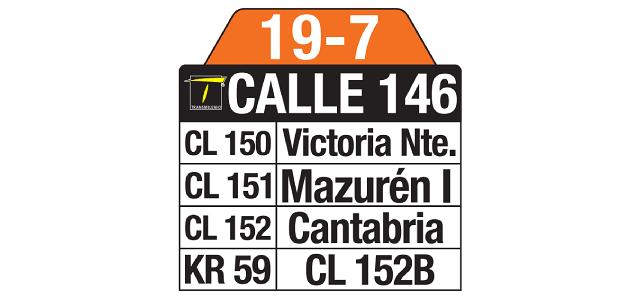 Tablas y ruteros de la Ruta SITP 19-7 Estación Calle 146, complementaria